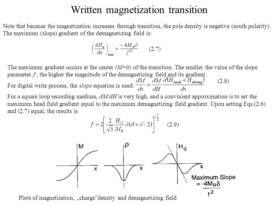 Written magnetization transition Note that because the magnetization increases through transition, the pole density is negative (south polarity).