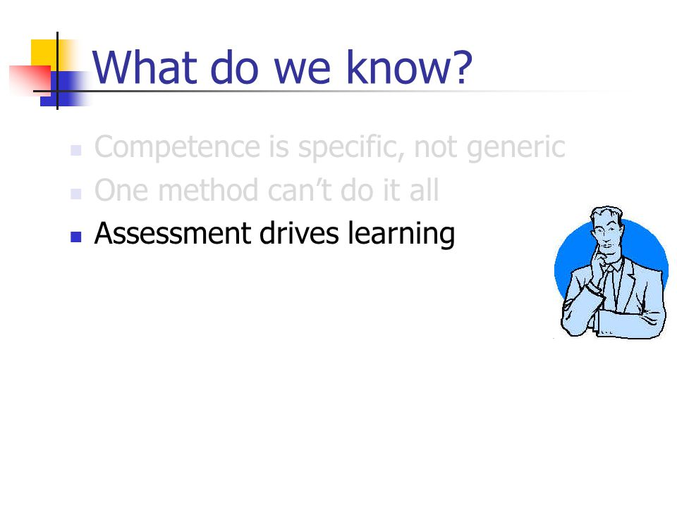 What do we know? Competence is specific, not generic One method can't do it all Assessment drives learning Verify the consequences Use the effect stra