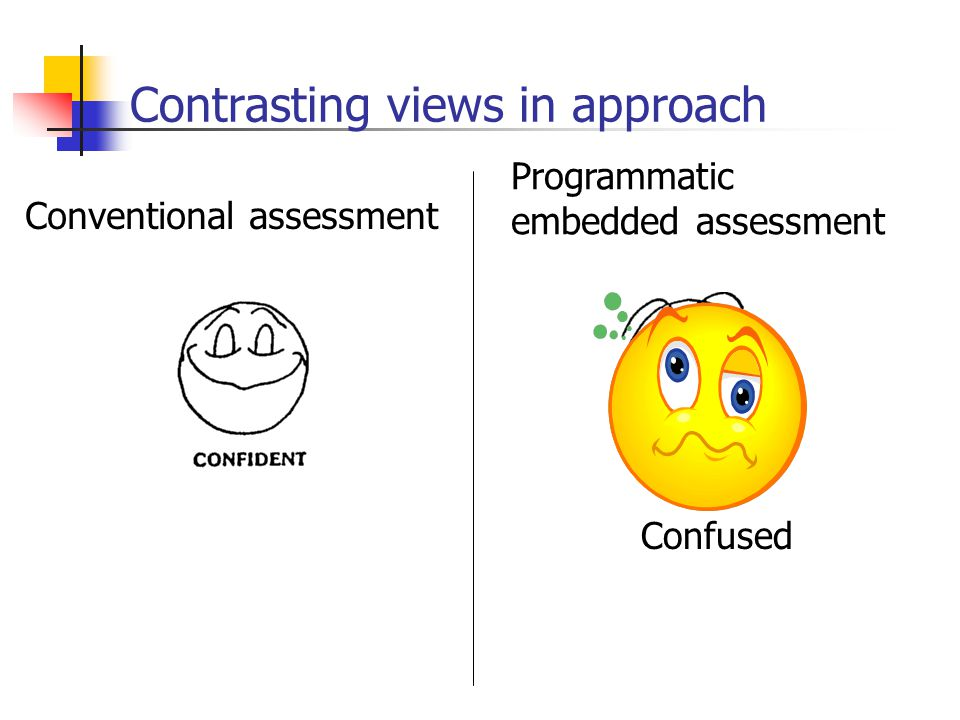 Contrasting views in approach Conventional assessment Confused Programmatic embedded assessment