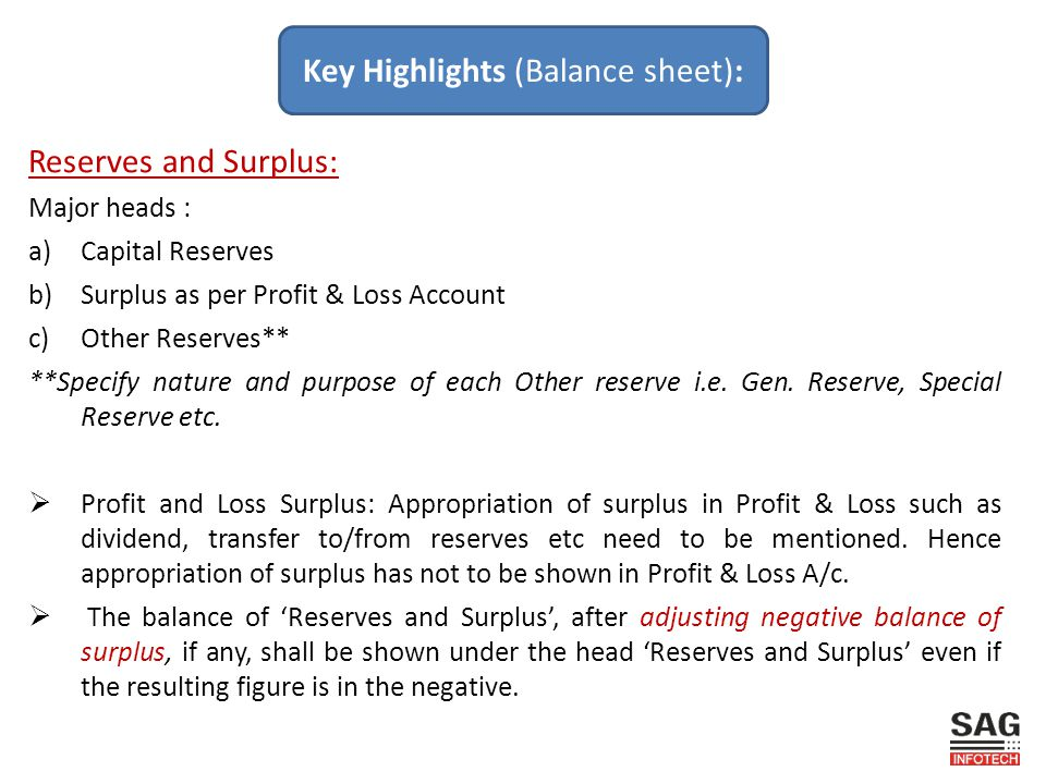 Reserves and Surplus: Major heads : a)Capital Reserves b)Surplus as per Profit & Loss Account c)Other Reserves** **Specify nature and purpose of each Other reserve i.e.
