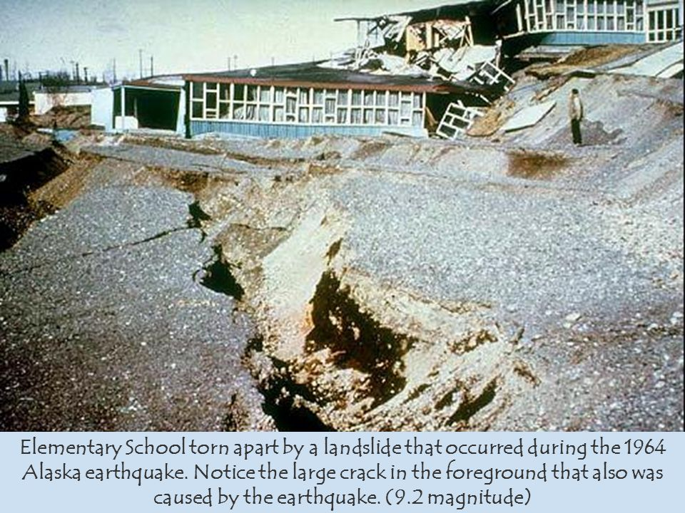 Elementary School torn apart by a landslide that occurred during the 1964 Alaska earthquake. Notice the large crack in the foreground that also was ca