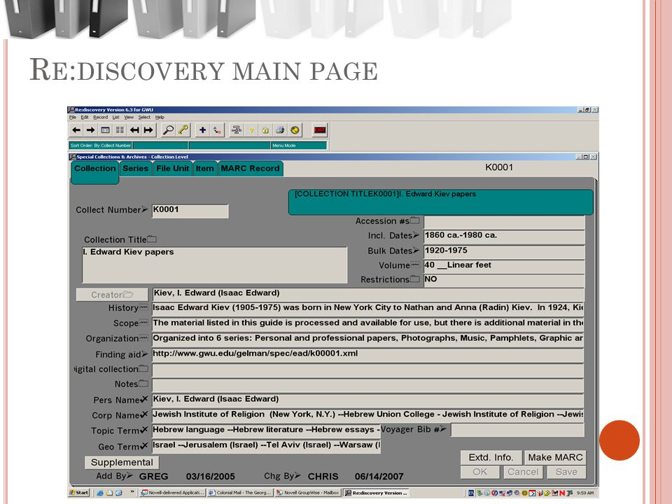 R E : DISCOVERY MAIN PAGE