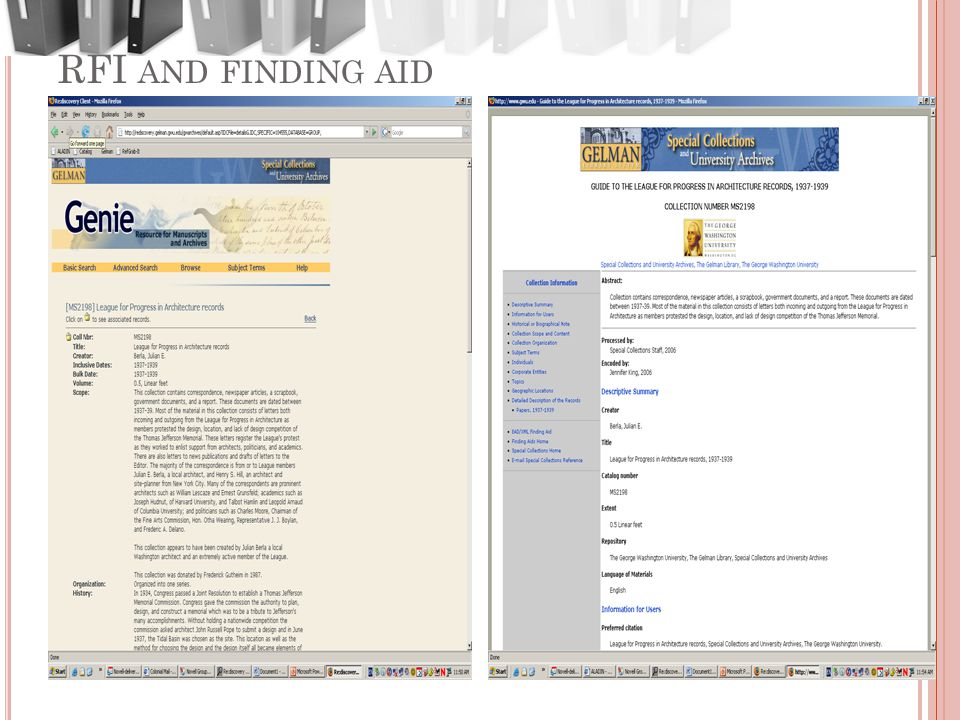 RFI AND FINDING AID