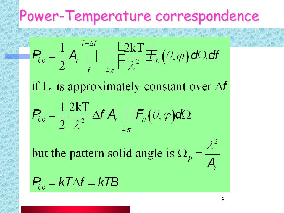 19 Power-Temperature correspondence
