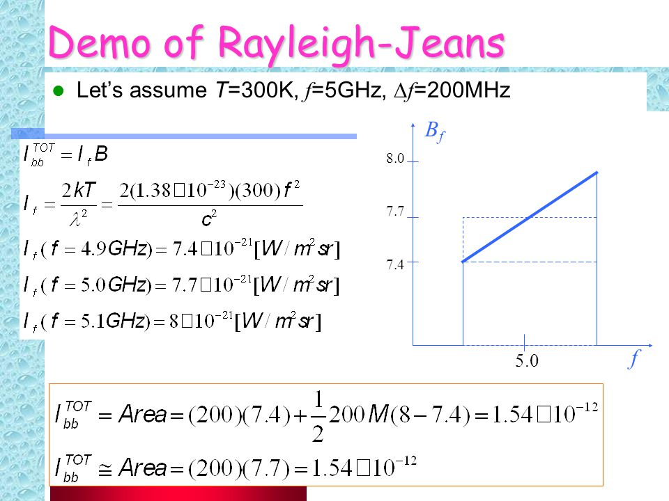 33 Demo of Rayleigh-Jeans Let's assume T=300K, f =5GHz,  f =200MHz 8.0 7.7 7.4 5.0 f BfBf