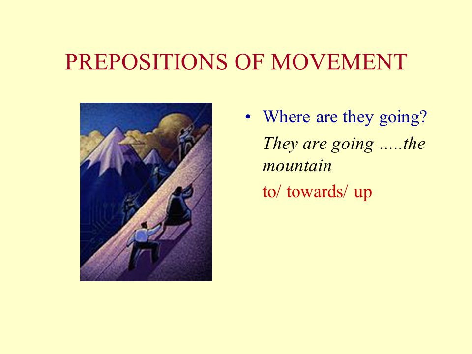 PREPOSITIONS OF MOVEMENT What are they doing? They are going …..the road across