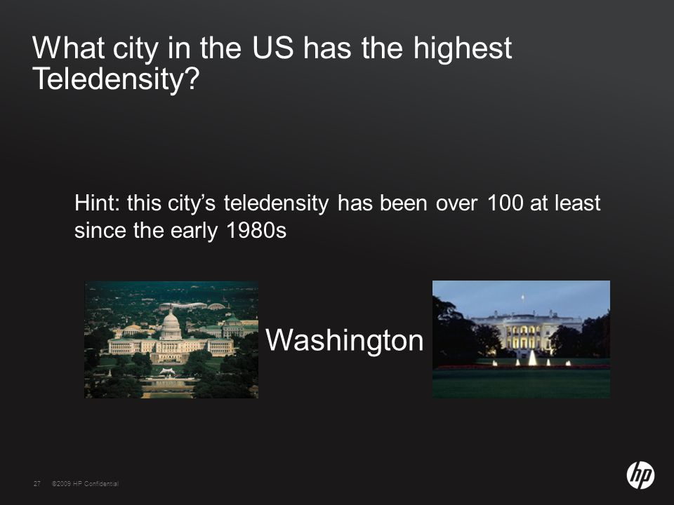 27©2009 HP Confidential27 What city in the US has the highest Teledensity? Hint: this city's teledensity has been over 100 at least since the early 19