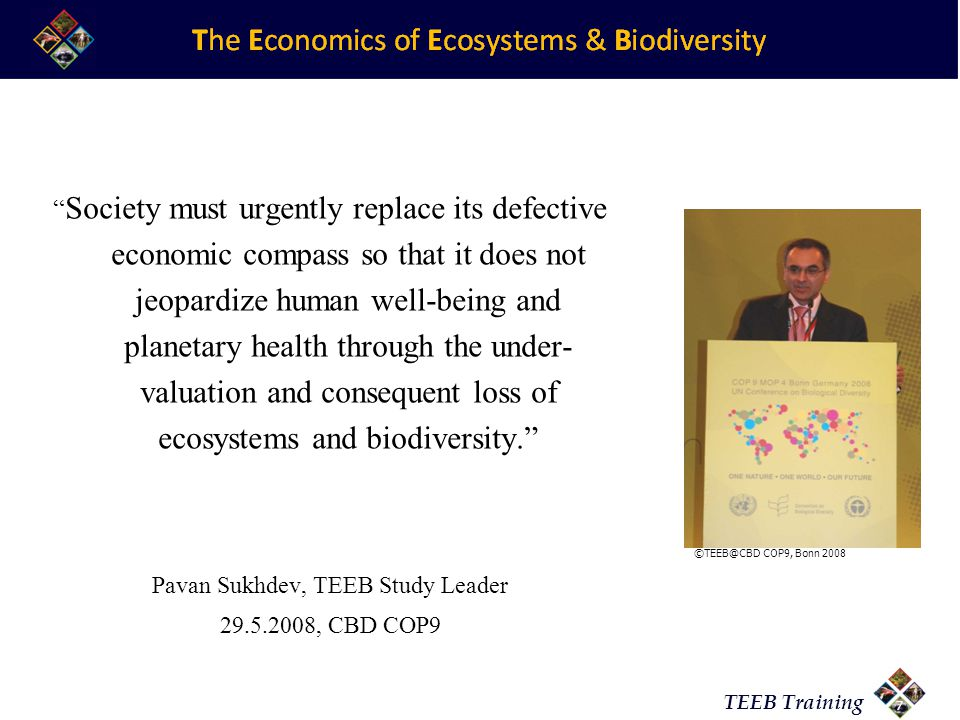 TEEB Training 9/7/20147 Society must urgently replace its defective economic compass so that it does not jeopardize human well-being and planetary health through the under- valuation and consequent loss of ecosystems and biodiversity. Pavan Sukhdev, TEEB Study Leader 29.5.2008, CBD COP9 ©TEEB@CBD COP9, Bonn 2008