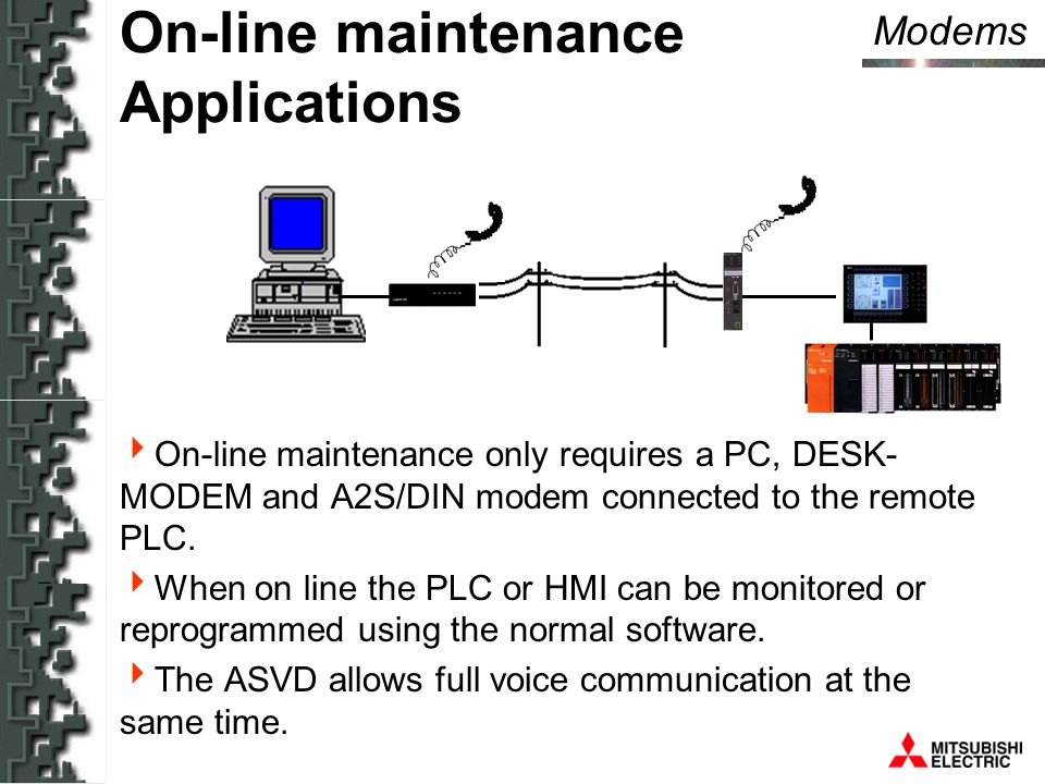 Modems On-line maintenance Applications  On-line maintenance only requires a PC, DESK- MODEM and A2S/DIN modem connected to the remote PLC.