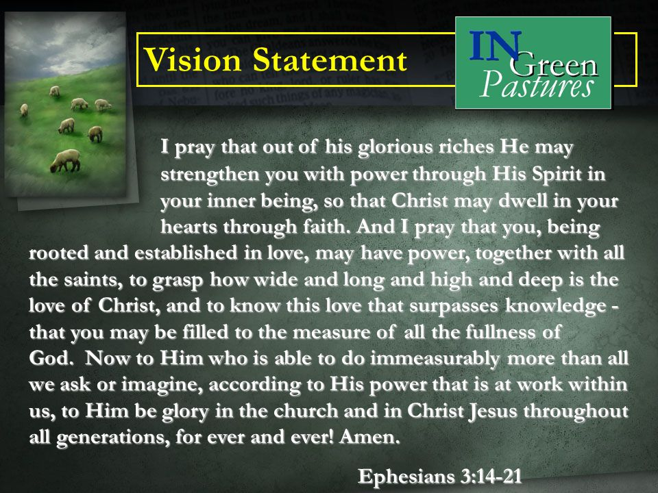 Mission Statement To create the best environment where we meet each individual where they are in their lives and then allow God to lead them in true spiritual transformation through an authentic relationship with Himself, Jesus Christ, the Holy Spirit and each other.