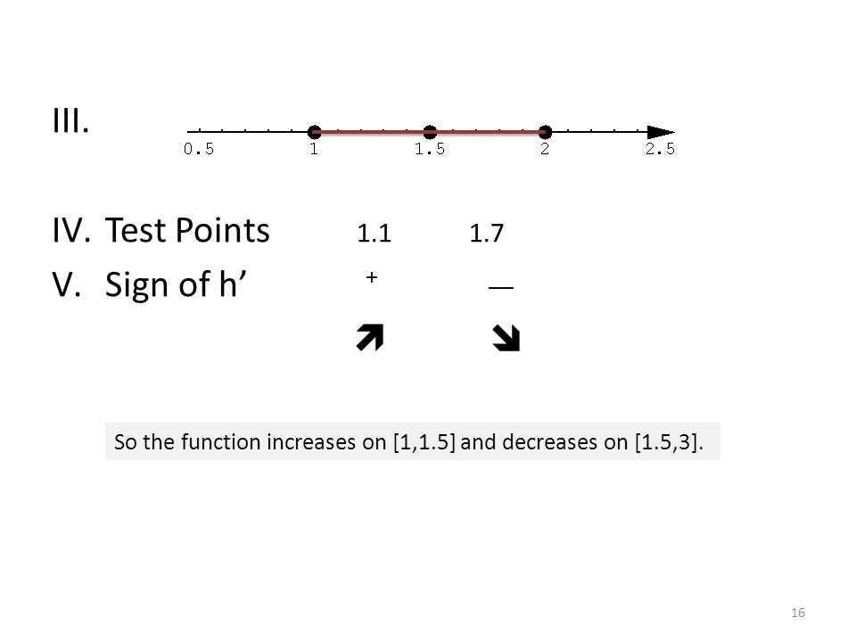 III. IV.Test Points 1.1 1.7 V.Sign of h' + __   So the function increases on [1,1.5] and decreases on [1.5,3]. 16