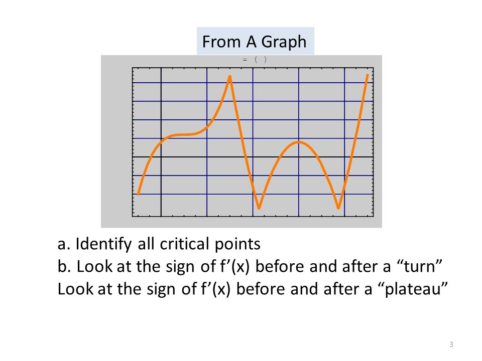 "a. Identify all critical points b. Look at the sign of f'(x) before and after a ""turn"" Look at the sign of f'(x) before and after a ""plateau"" From A G"