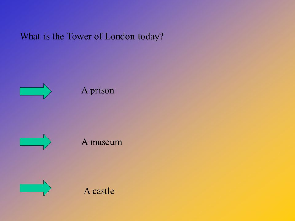What is the Tower of London today? A prison A museum A castle