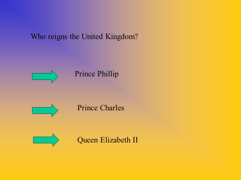 Who reigns the United Kingdom? Prince Phillip Prince Charles Queen Elizabeth II