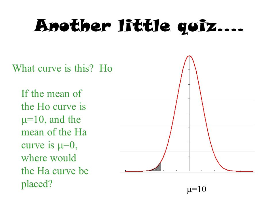 Another little quiz…. What curve is this?Ho If the mean of the Ho curve is  =10, and the mean of the Ha curve is  =0, where would the Ha curve be pl
