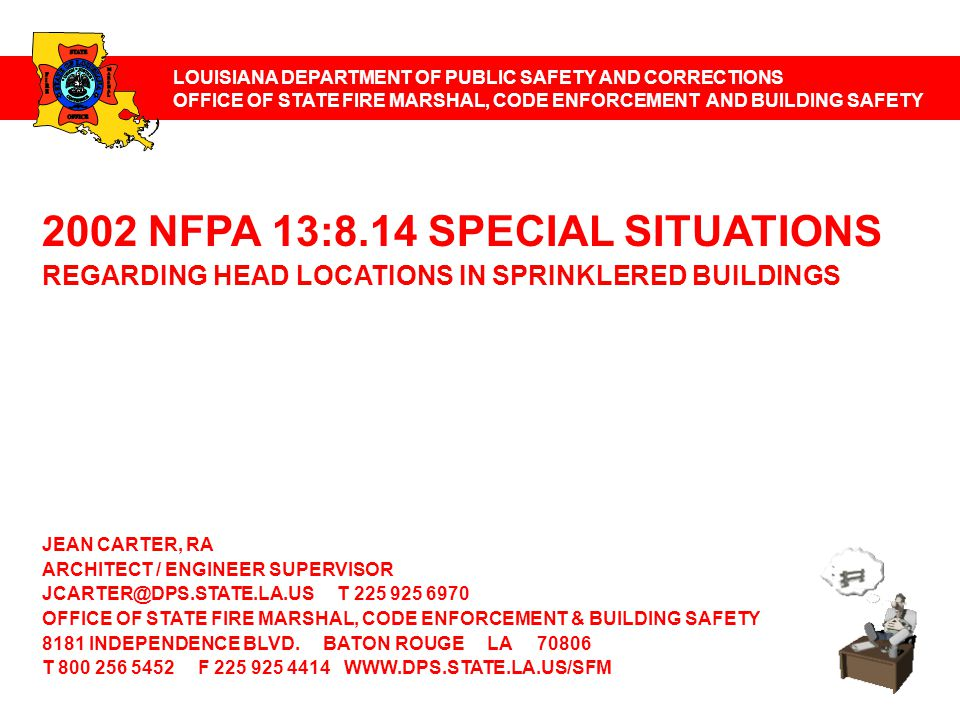 2002 NFPA 13:8.14 SPECIAL SITUATIONS 8.14.1 Concealed Spaces 8.14.2 Vertical Shafts 8.14.3 Stairways 8.14.4 Vertical Openings 8.14.5 Elevator Hoistways 8.14.6 Spaces Under Ground Floors, Exterior Docks, And Platforms 8.14.7 Exterior Roofs Or Canopies 8.14.8 Dwelling Units 8.14.9 Library Stack Rooms 8.14.10 Electrical Equipment 8.14.11 Industrial Ovens And Furnaces 8.14.12 Open Grid Ceilings 8.14.13 Drop Out Ceilings 8.14.14 Old Style Sprinklers 8.14.15 Stages 8.14.16 Provision For Flushing Systems 8.14.17 Stair Towers 8.14.18 Return Bends 8.14.19 Piping To Sprinklers Below Ceilings 8.14.20 Dry Pipe Underground 8.14.21 System Subdivision 8.14.22 Spaces Above Ceilings Annex A is not a part of the requirements of this NFPA document but is included for informational purposes only.