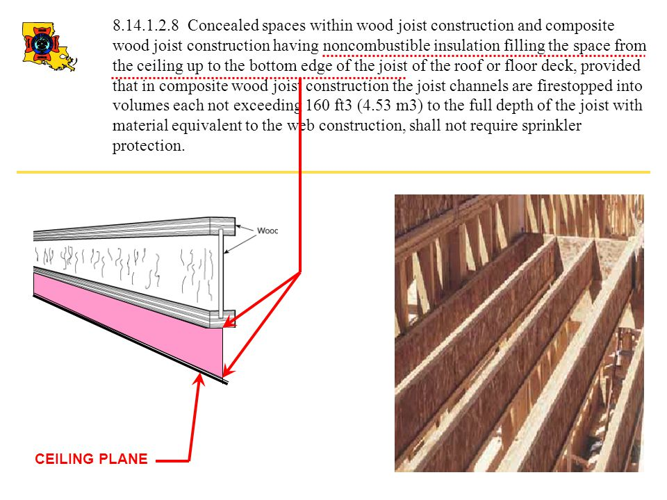 8.14.1.2.8 Concealed spaces within wood joist construction and composite wood joist construction having noncombustible insulation filling the space fr
