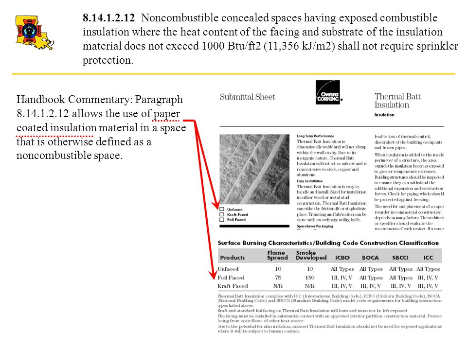 8.14.1.2.12 Noncombustible concealed spaces having exposed combustible insulation where the heat content of the facing and substrate of the insulation