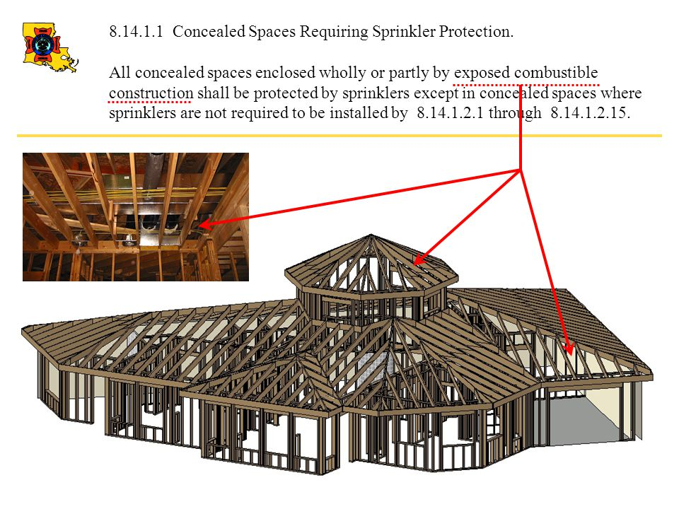 8.14.1.2.12 Noncombustible concealed spaces having exposed combustible insulation where the heat content of the facing and substrate of the insulation material does not exceed 1000 Btu/ft2 (11,356 kJ/m2) shall not require sprinkler protection.