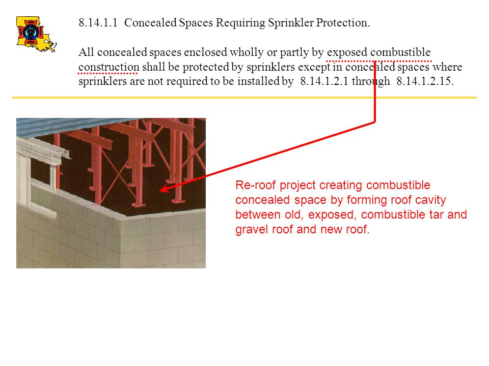 8.14.1.1 Concealed Spaces Requiring Sprinkler Protection. All concealed spaces enclosed wholly or partly by exposed combustible construction shall be