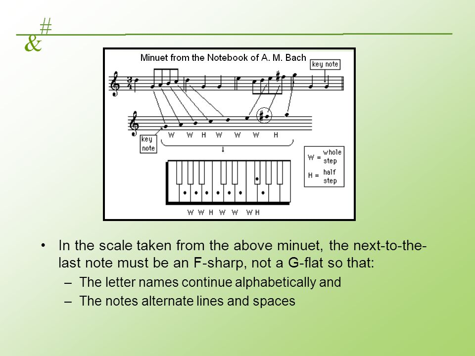 In the scale taken from the above minuet, the next-to-the- last note must be an F-sharp, not a G-flat so that: –The letter names continue alphabetical