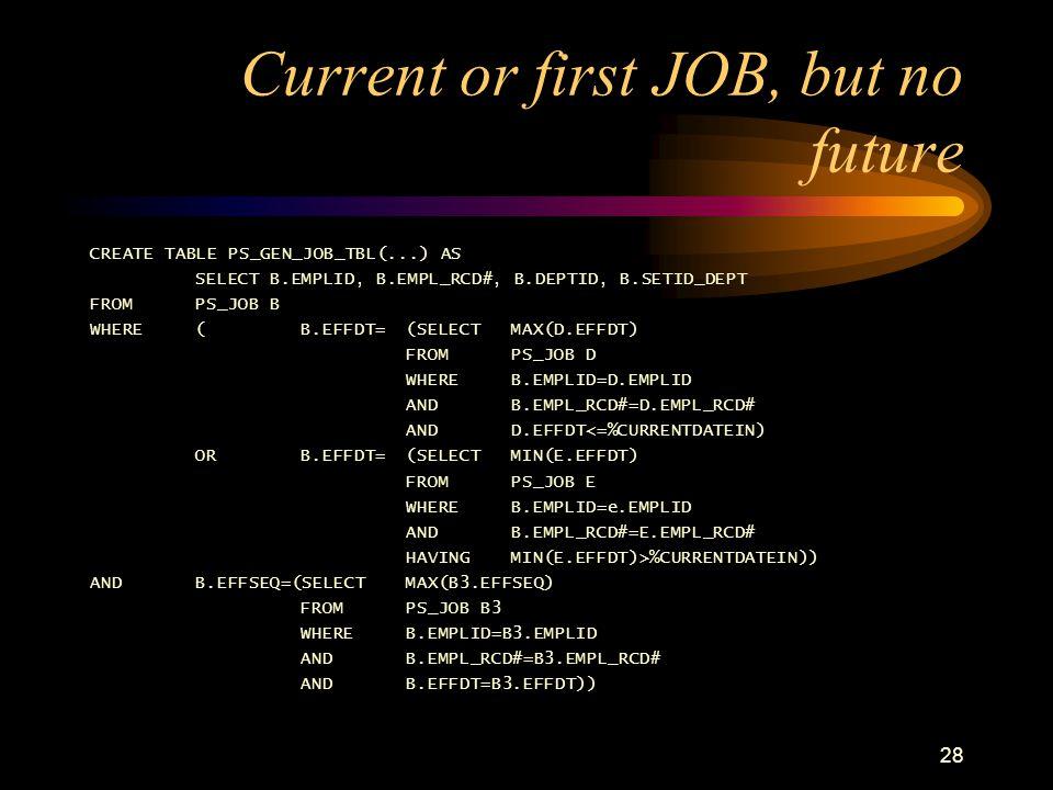 "27 Maintain via PeopleCode JOB.DEPTID.SavePostChg /* maintain GEN_JOB_TBL whenever an update to PS_JOB is made */ SQLExec(""delete from PS_GEN_JOB_TBL"