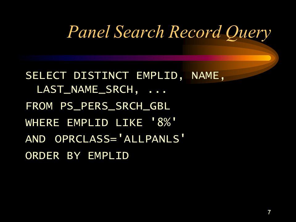 27 Maintain via PeopleCode JOB.DEPTID.SavePostChg /* maintain GEN_JOB_TBL whenever an update to PS_JOB is made */ SQLExec( delete from PS_GEN_JOB_TBL where EMPLID = :1 and EMPL_RCD# = :2 , EMPLID, EMPL_RCD#); SQLExec( insert into PS_GEN_JOB_TBL select * from PS_GEN_JOB_VW where EMPLID = :1 and EMPL_RCD# = :2 , EMPLID, EMPL_RCD#);