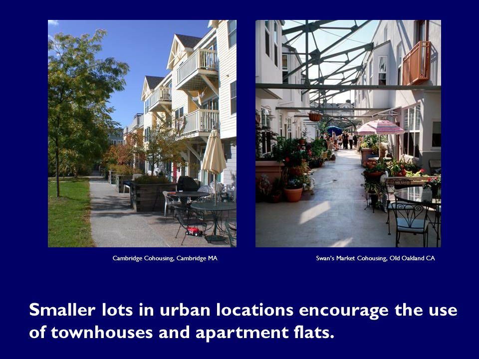 Cambridge Cohousing, Cambridge MA Smaller lots in urban locations encourage the use of townhouses and apartment flats.