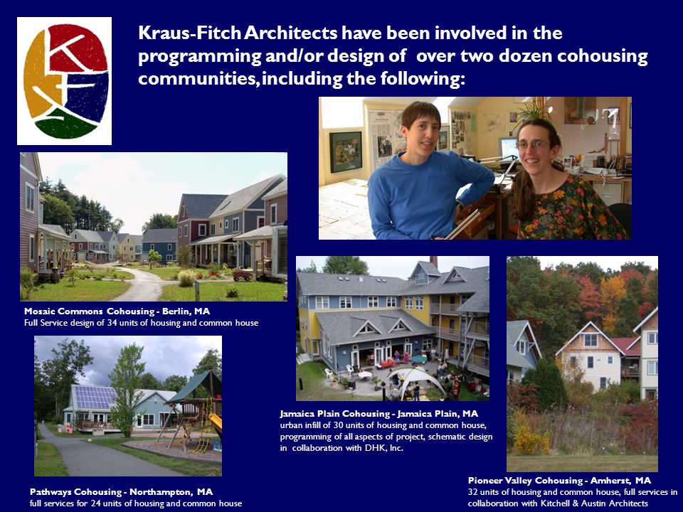 Kraus-Fitch Architects have been involved in the programming and/or design of over two dozen cohousing communities, including the following: Jamaica P