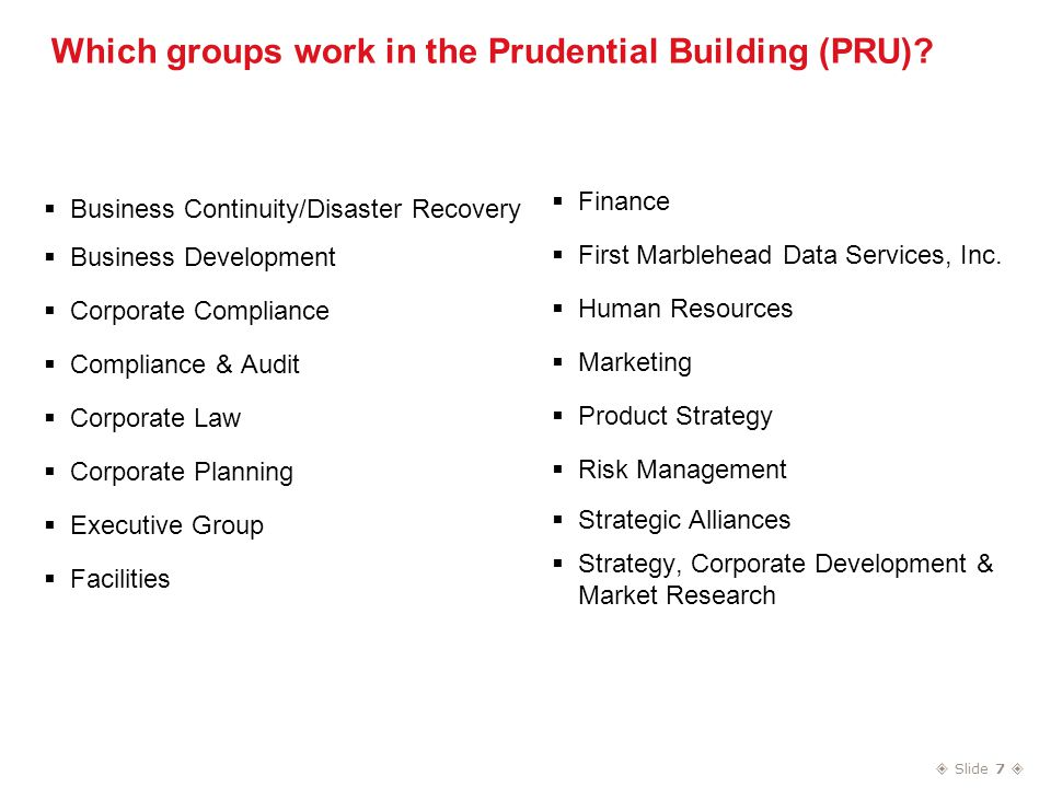  Slide 7  Which groups work in the Prudential Building (PRU).