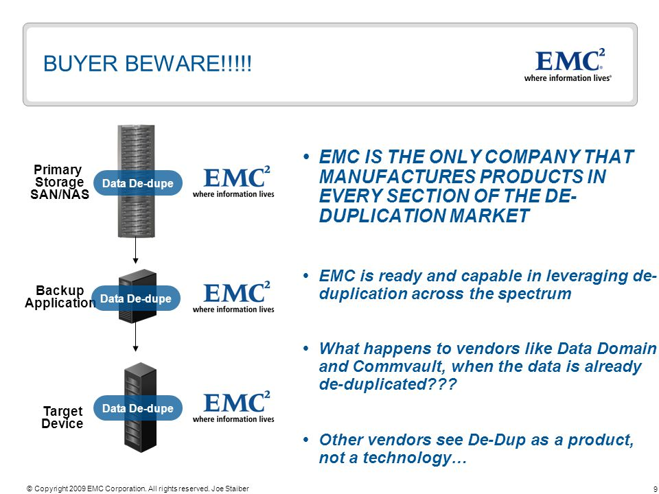 9 © Copyright 2009 EMC Corporation. All rights reserved.