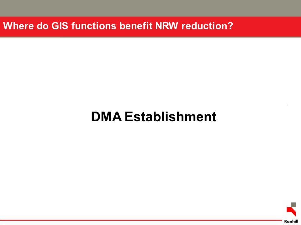 Where do GIS functions benefit NRW reduction? DMA Establishment