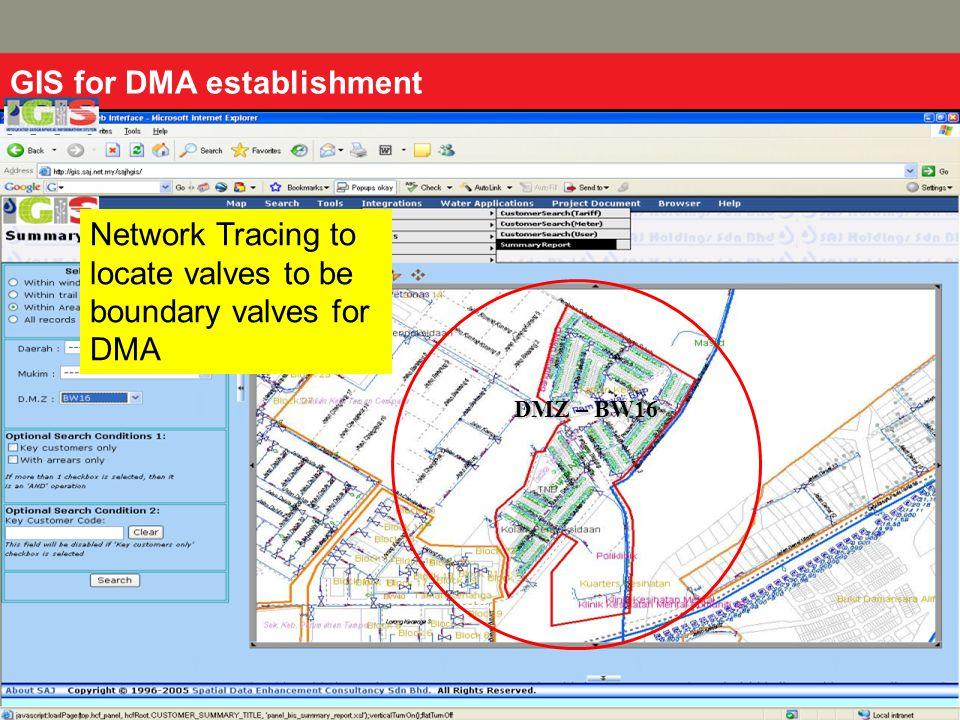 DMZ – BW16 GIS for DMA establishment Network Tracing to locate valves to be boundary valves for DMA