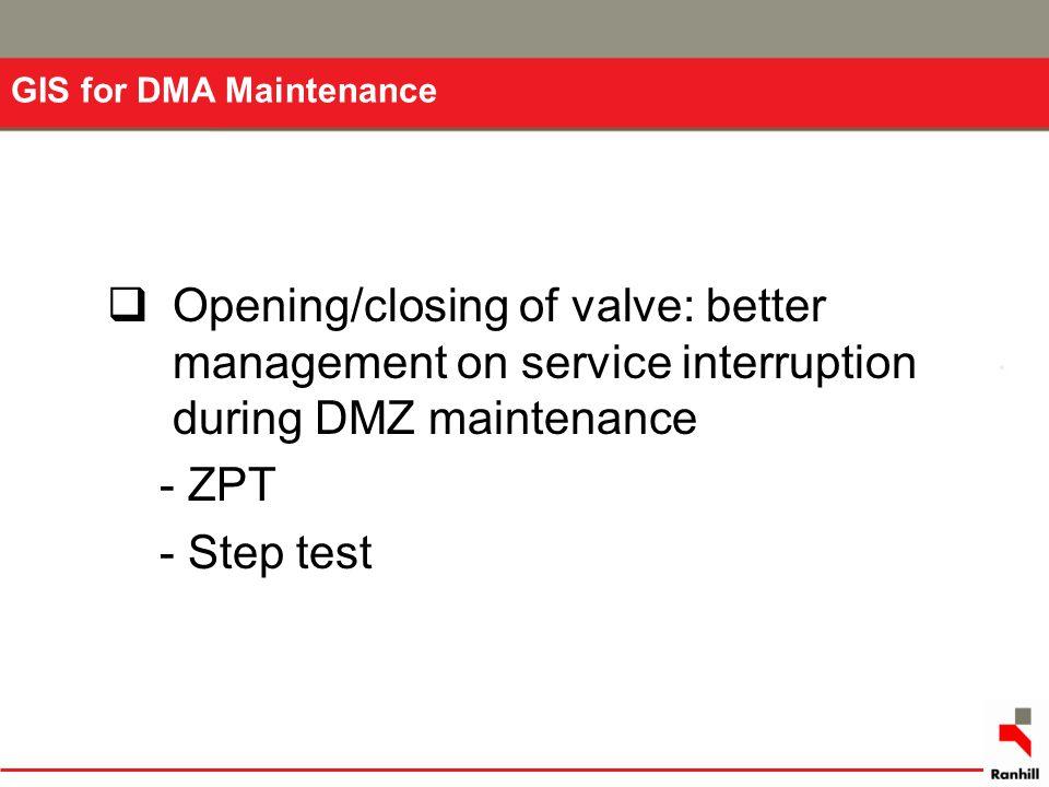 GIS for DMA Maintenance  Opening/closing of valve: better management on service interruption during DMZ maintenance - ZPT - Step test