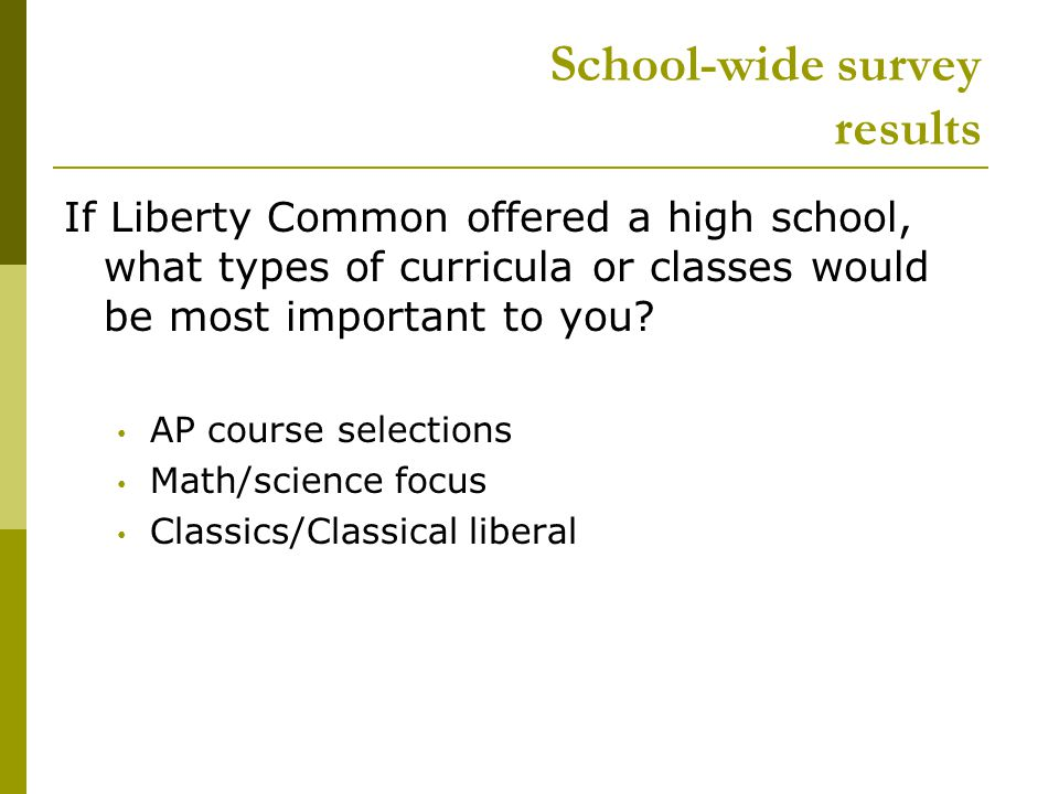 School-wide survey results If Liberty Common offered a high school, what types of curricula or classes would be most important to you.