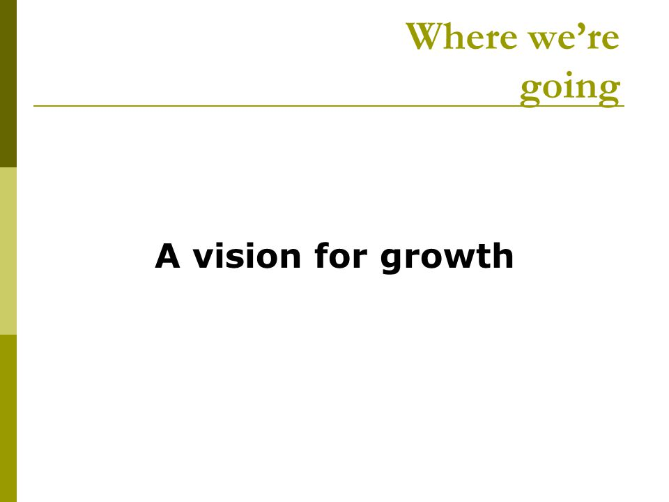 Where we're going A vision for growth