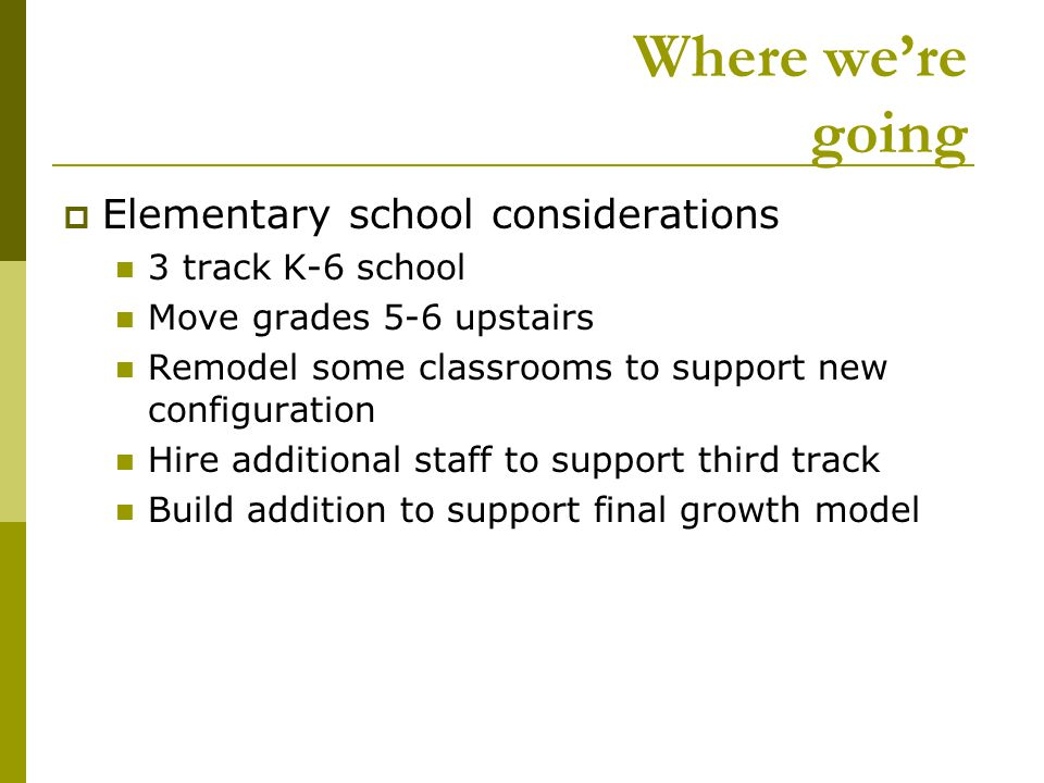 Where we're going  Elementary school considerations 3 track K-6 school Move grades 5-6 upstairs Remodel some classrooms to support new configuration Hire additional staff to support third track Build addition to support final growth model