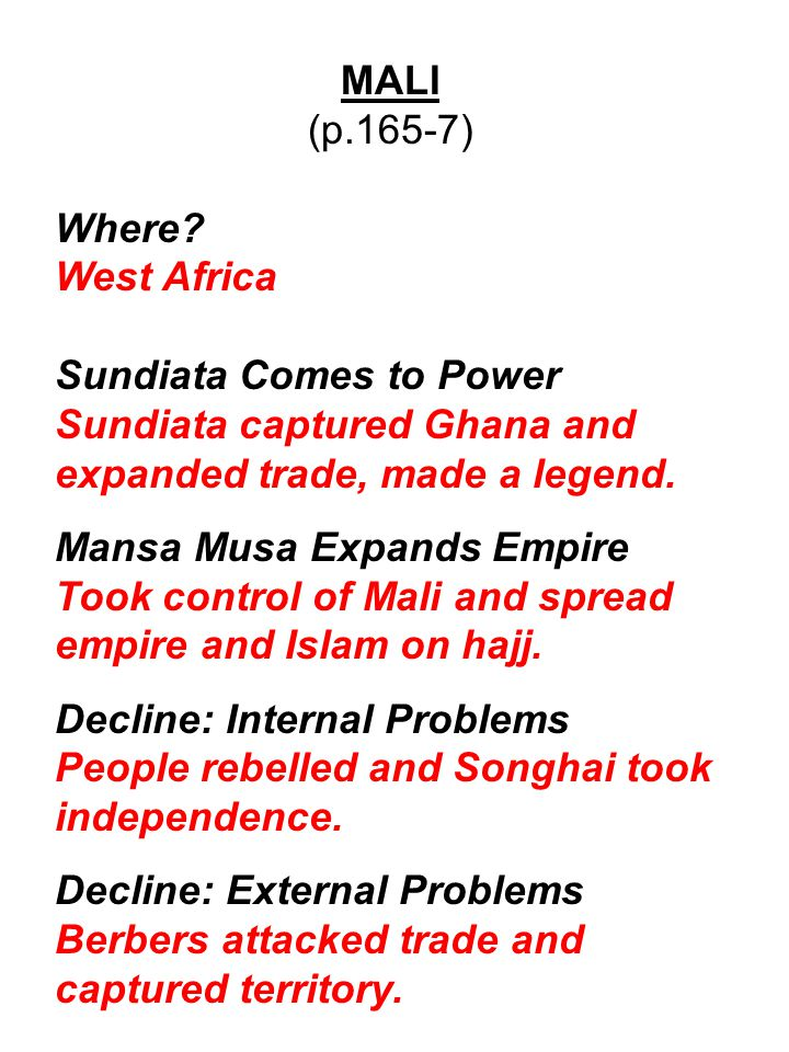 SONGHAI (p.167-9) Where.West Africa Songhai Expands Sunni Ali conquered the Berbers and Mali.