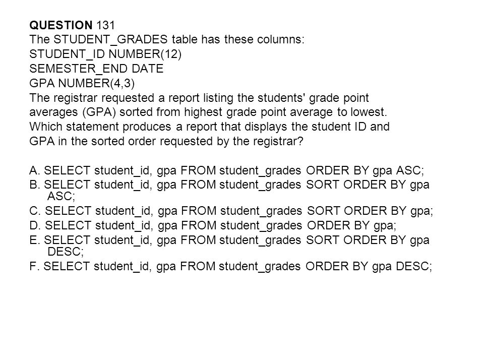 QUESTION 131 The STUDENT_GRADES table has these columns: STUDENT_ID NUMBER(12) SEMESTER_END DATE GPA NUMBER(4,3) The registrar requested a report listing the students grade point averages (GPA) sorted from highest grade point average to lowest.