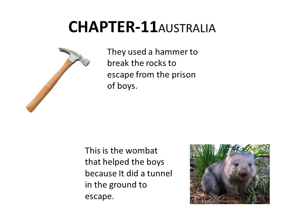 CHAPTER-11 AUSTRALIA They used a hammer to break the rocks to escape from the prison of boys.
