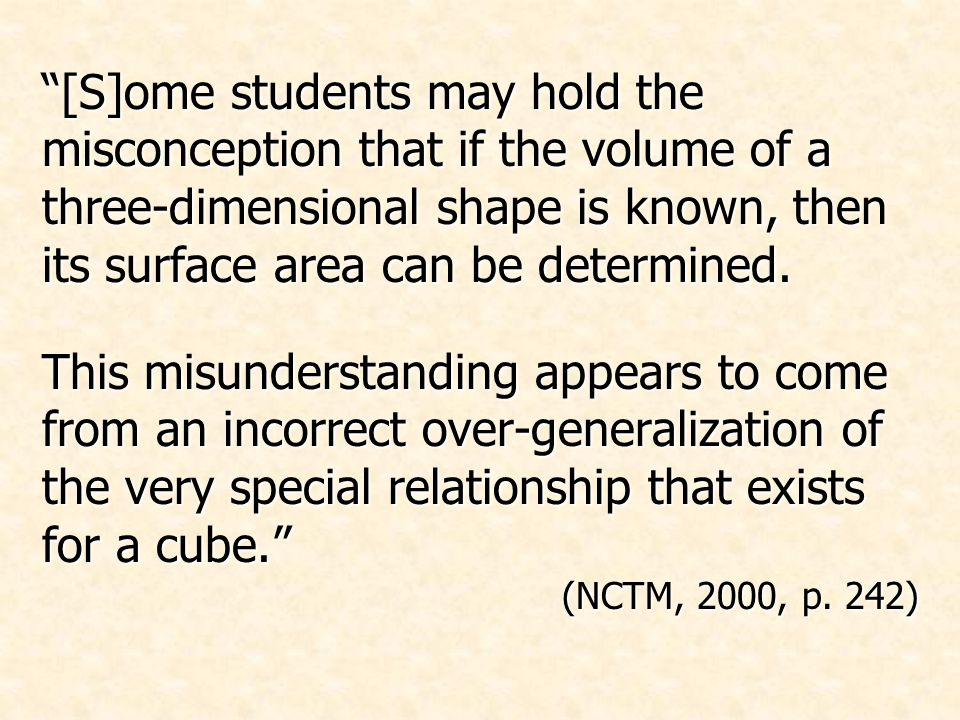 This misunderstanding appears to come from an incorrect over-generalization of the very special relationship that exists for a cube. (NCTM, 2000, p.