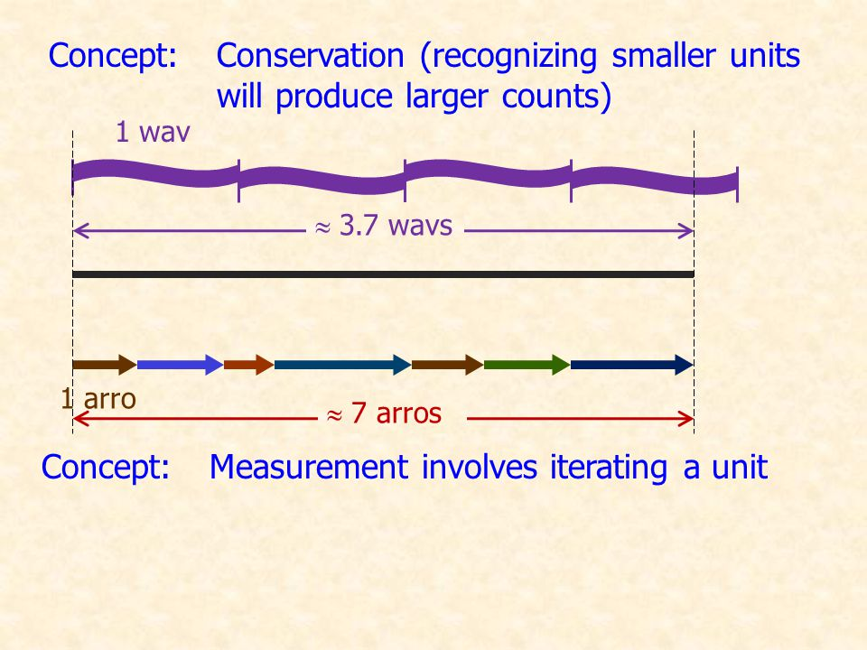 1 wav 1 arro  3.7 wavs  9.6 arros Concept:Units must be consistent Concept:Inverse relationship between the size of a unit and the numerical count Concept:Measurement involves iterating a unit Concept:Conservation (recognizing smaller units will produce larger counts)