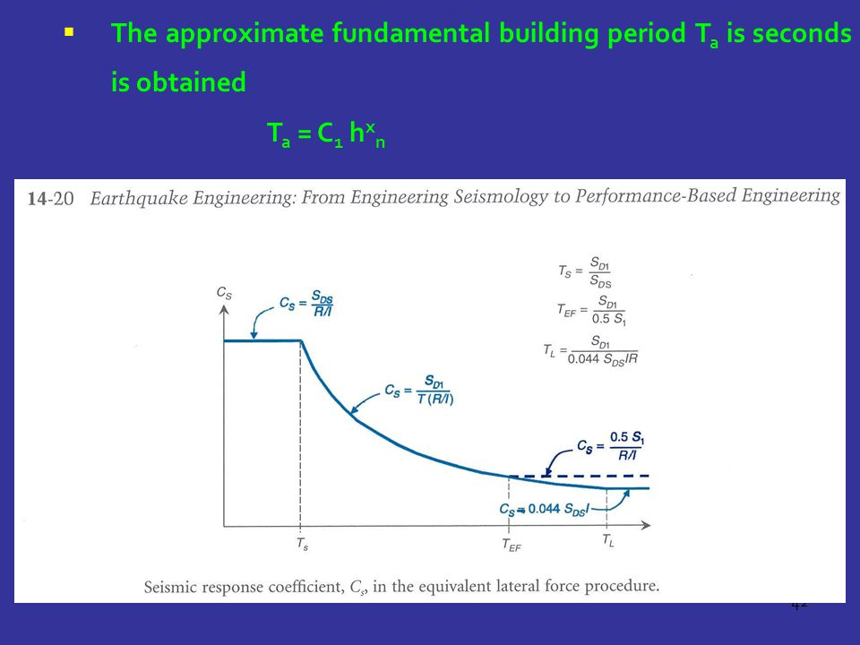 42  The approximate fundamental building period T a is seconds is obtained T a = C 1 h x n