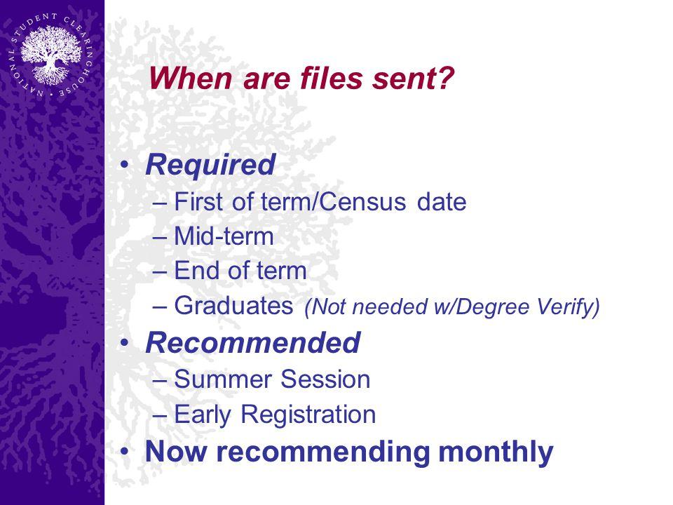 When are files sent.