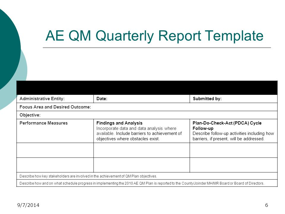 9/7/2014 WRAP UP  AE QM Quarterly Report Includes all required elements Template is used Timely submission  Data Organization Tables and charts are used  PDCA Model is appropriately applied PDCA follow up occurs Action plan is updated ongoing basis  Performance is monitored ongoing 47