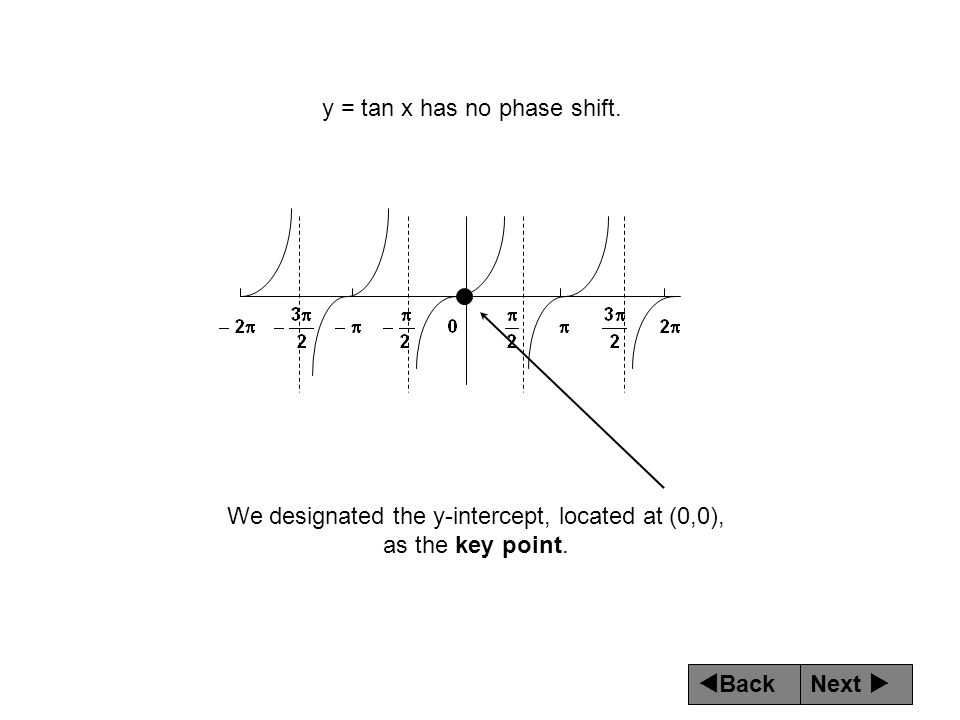 Next  Back y = tan x has no phase shift. We designated the y-intercept, located at (0,0), as the key point.