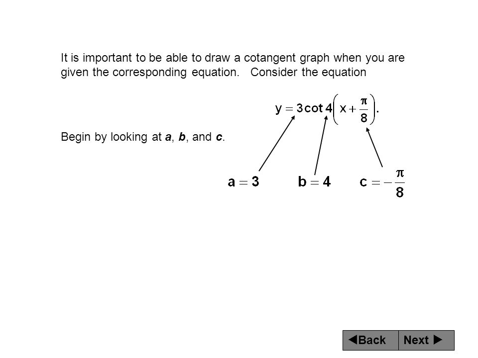 Next  Back It is important to be able to draw a cotangent graph when you are given the corresponding equation. Consider the equation Begin by lookin