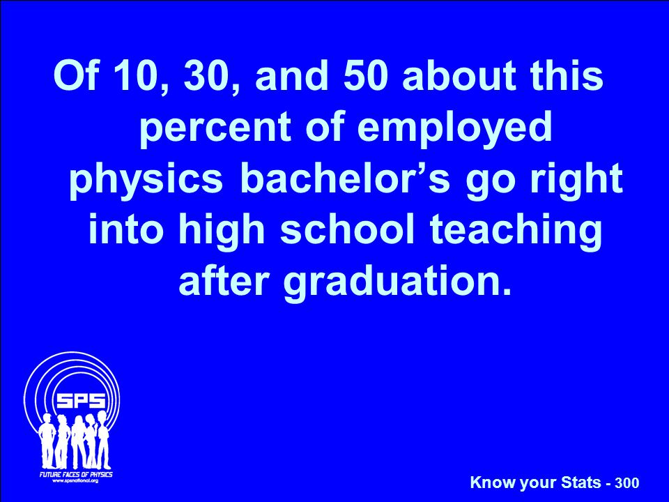 Of 10, 30, and 50 about this percent of employed physics bachelor's go right into high school teaching after graduation.