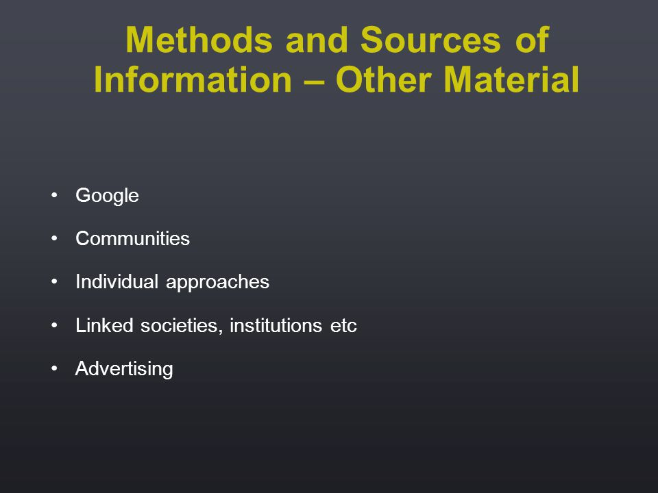 Google Communities Individual approaches Linked societies, institutions etc Advertising Methods and Sources of Information – Other Material