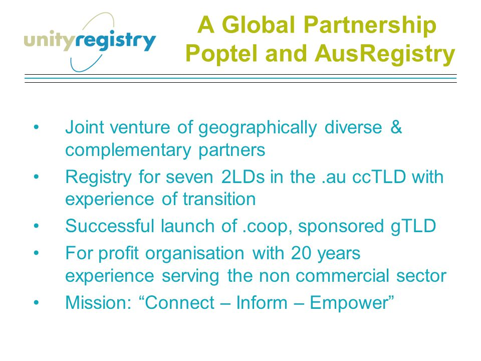 Serving almost 300,000.au registered domains Including.org.au – the non-commercial sector